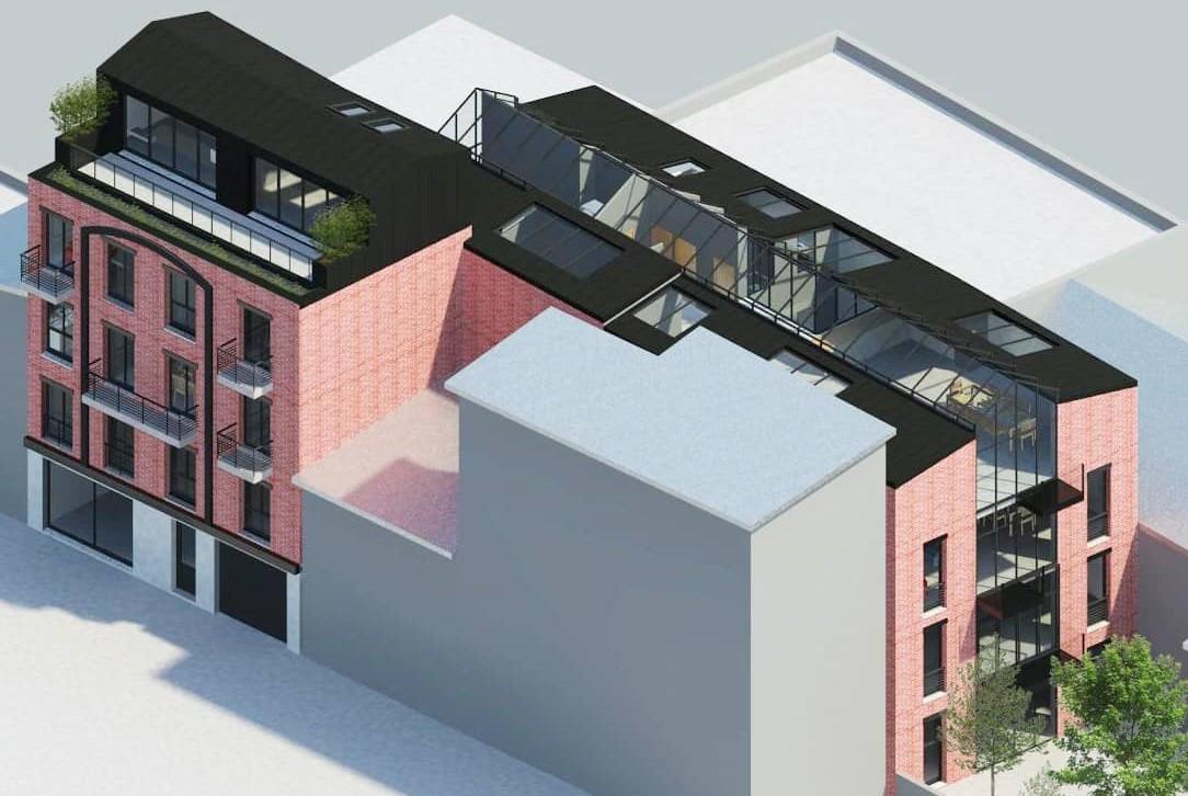 projet immobilier avec une grande verrière de toit et des murs rideaux